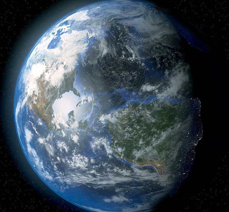 A picture of earth from space.